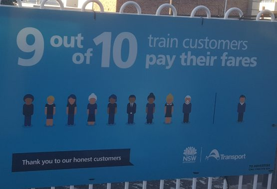 Transport NSW want you to believe that 9 out of 10 train customers pay their fares